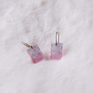 Jewelry - Pink Dichroic Glass Earrings